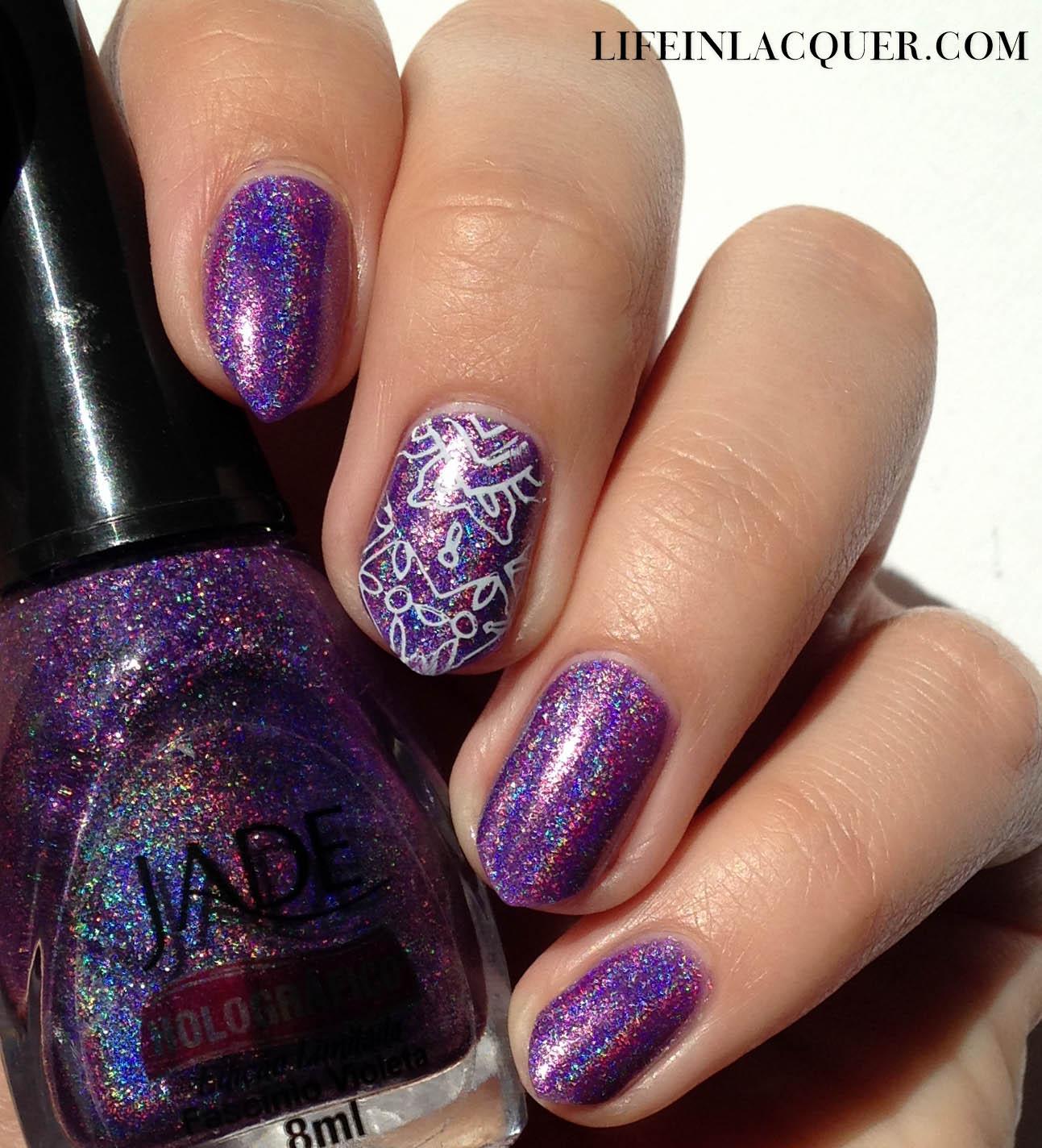 Jade Holografico stamping nail art holo polish