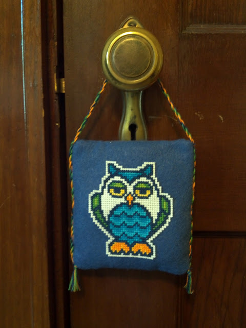 My cross stitched owl doorknob hanger!