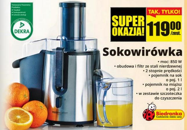 Sokowirówka Food Expert z Biedronki ulotka
