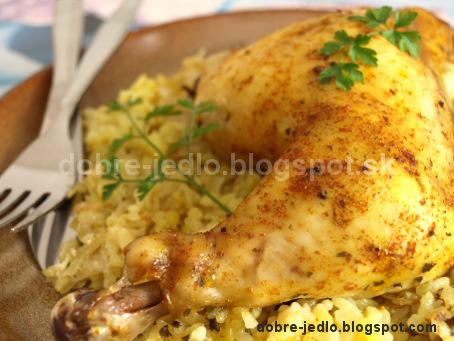 Pečené kurča s ryžou a s kyslou kapustou - recepty