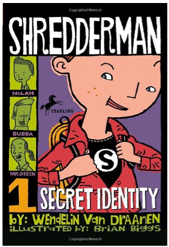 http://www.amazon.com/Shredderman-Identity-Wendelin-Van-Draanen/dp/0440419123/ref=sr_1_1?s=books&ie=UTF8&qid=1403414727&sr=1-1&keywords=shredderman