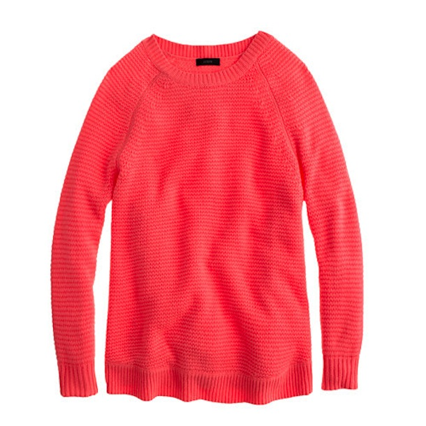 J Crew Collection Cashmere Textured-Stitch Sweater in Neon Guava