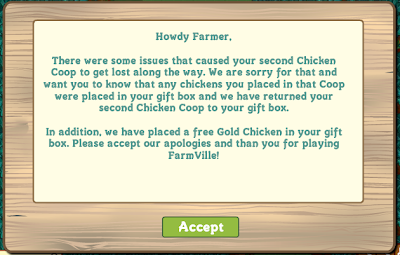 FarmVille Chicken Coop Apology from Zynga