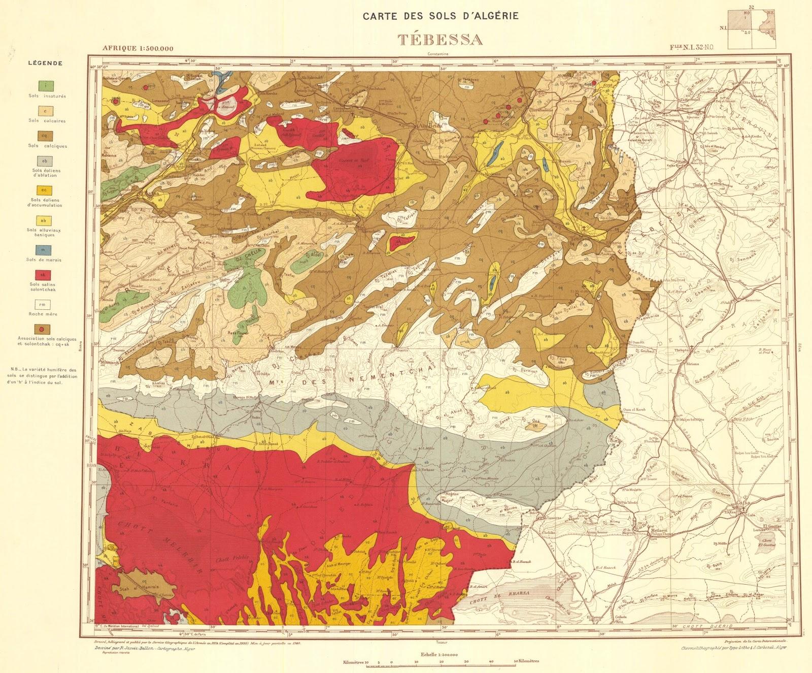 LEst Algrien parle Cartes des sols de Tebessa de 1938