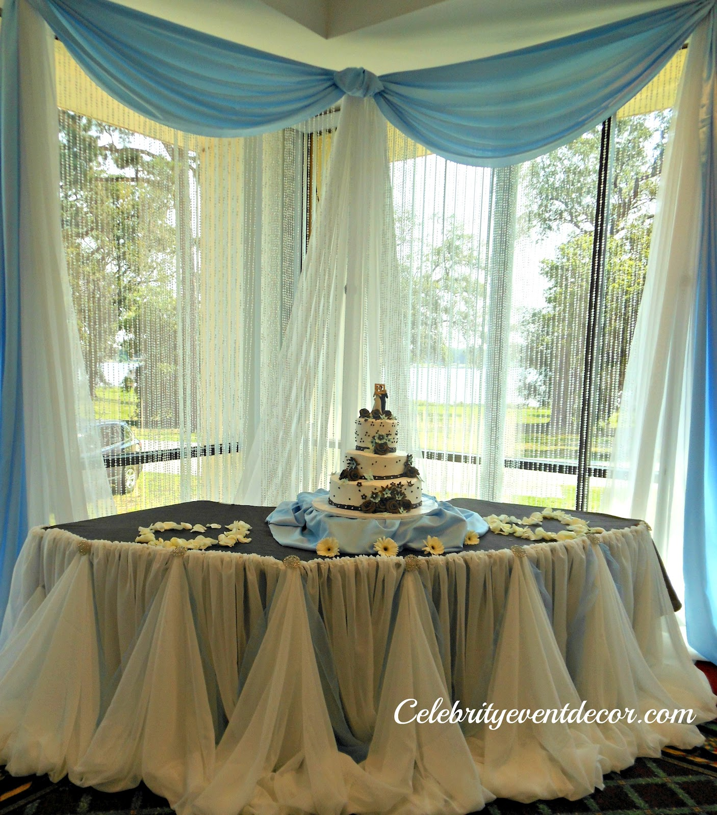 Cake table decoration with an elegant table Cinderella skirt accented ...