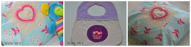 french knot cushion cover and bib by MADE BY Y