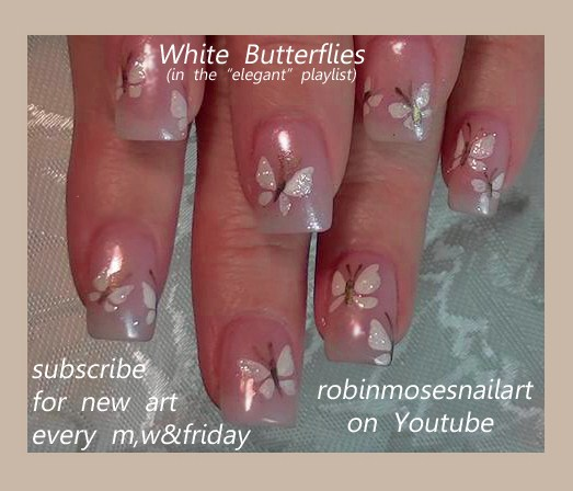 Wedding Nails White Butterfly Nail Mac Eyeshadow Reflects Pearl Bride And Groom Cute Easy