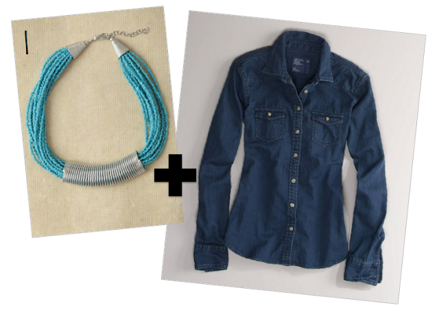 statement necklace, denim shirt, cute outfit
