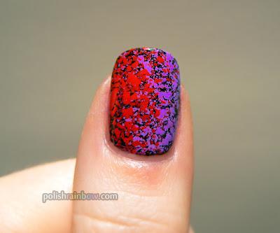 Polish Rainbow nail art. Rainbow splatter mani: thumb.