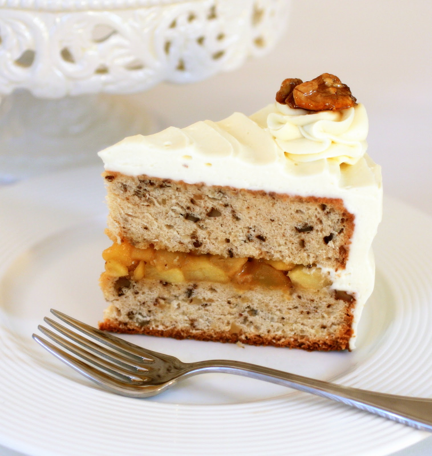 Walnut Layer Cake with Apple-Caramel Filling and Calvados Cream Cheese ...