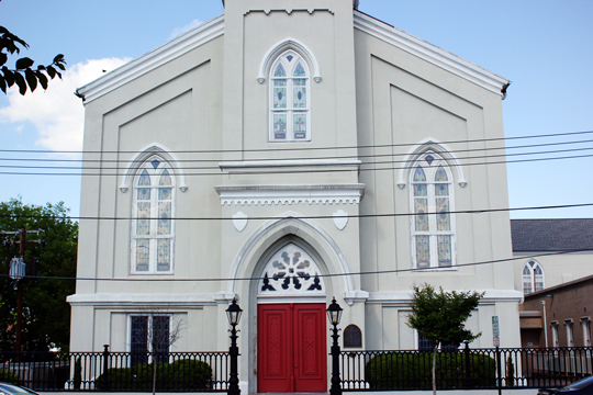 Church with red doors in Fredericksburg, VA