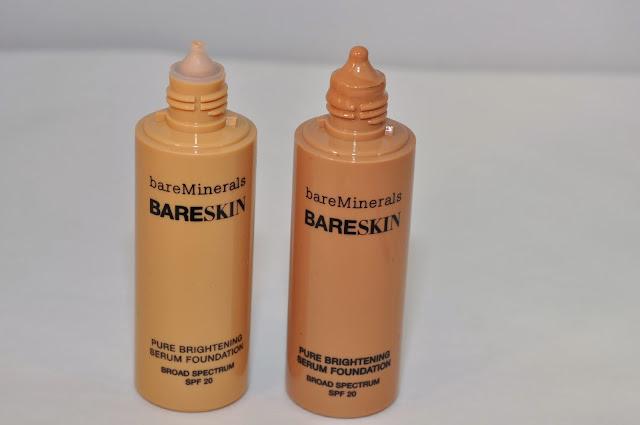 bareMinerals BareSkin Pure Brightening Serum Foundation in Bare Nude and Bare Latte