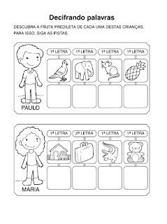 Atividades para Alfabetização - Decifrando Palavras