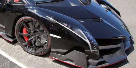 Mysterious car Veneno Matte Black Lamborghini Roadster