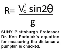 Prof. Podolak's pumpkin chucking (range of projectile) equation