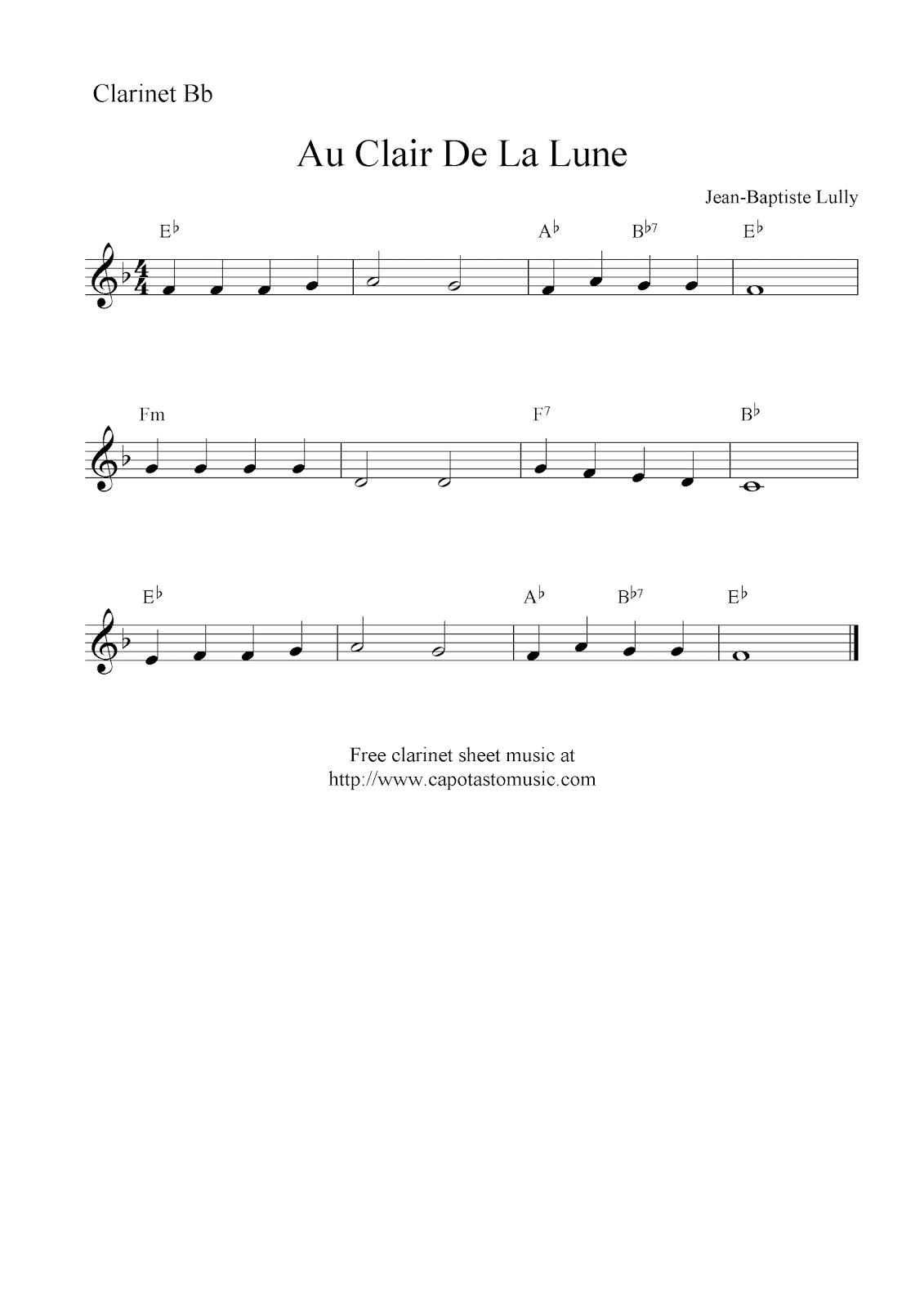 Au Clair De La Lune, free easy clarinet sheet music notes