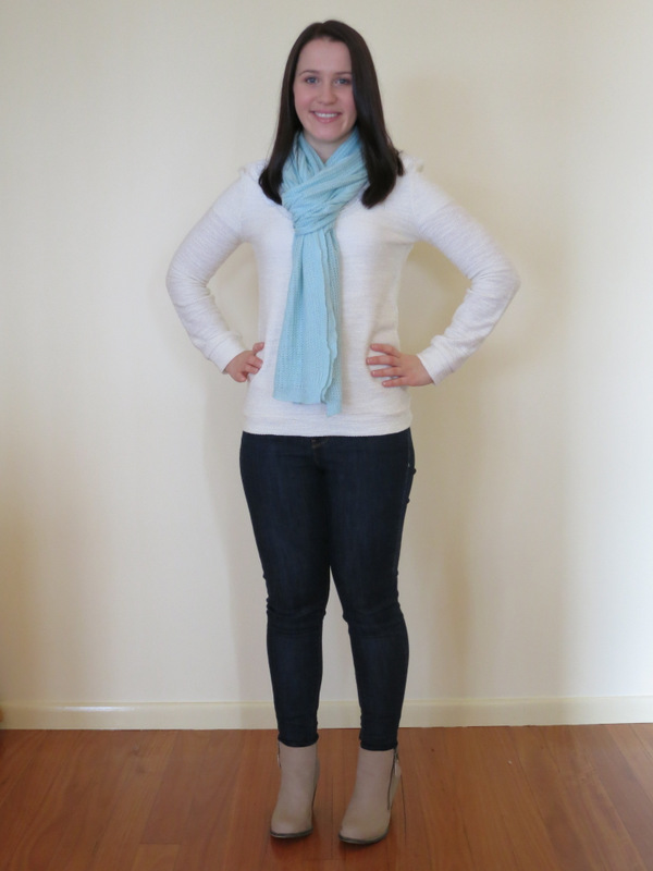 Dark wash denim jeans, cream knit jumper, neutral booties and mint scarf