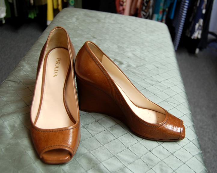 Style Blender Shoes Prada Leather Peep Toe Wedges