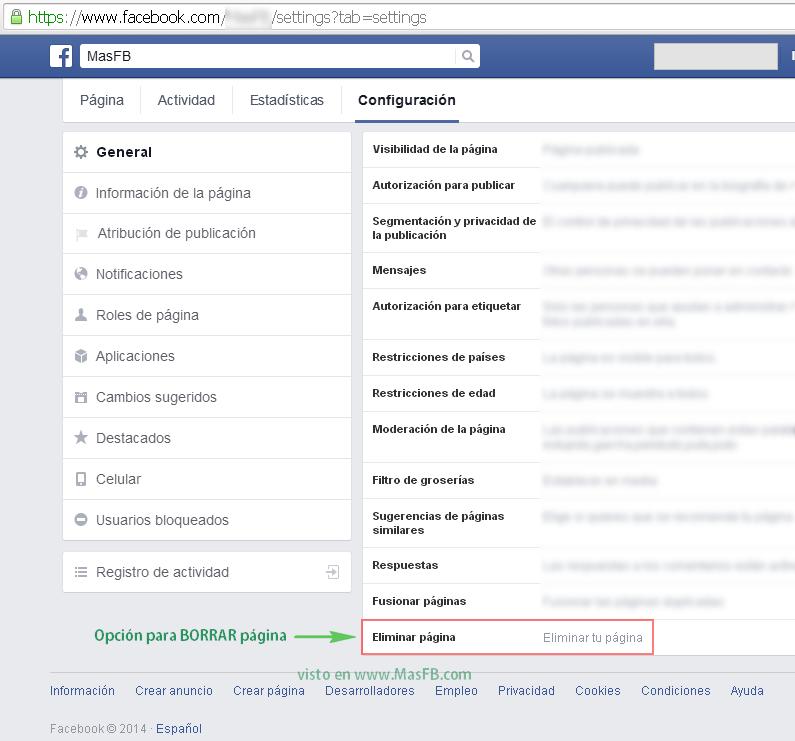 Eliminar pagina en Facebook - MasFB