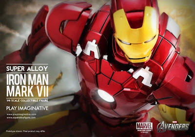 Play Imaginative Super Alloy 1/6 Scale Iron Man Mk VII Diecast Figure with Hall of Armor