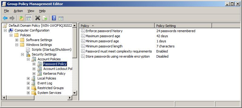 default password policy settings