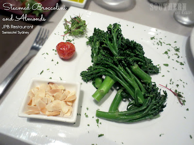 JPB Restaurant Review Swissotel Sydney - Gluten Free Steamed Broccolini with Roasted Almonds