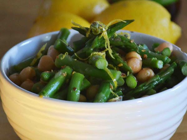 Asparagus Chickpea Salad with a Lemon Honey Vinaigrette (with some heat!)