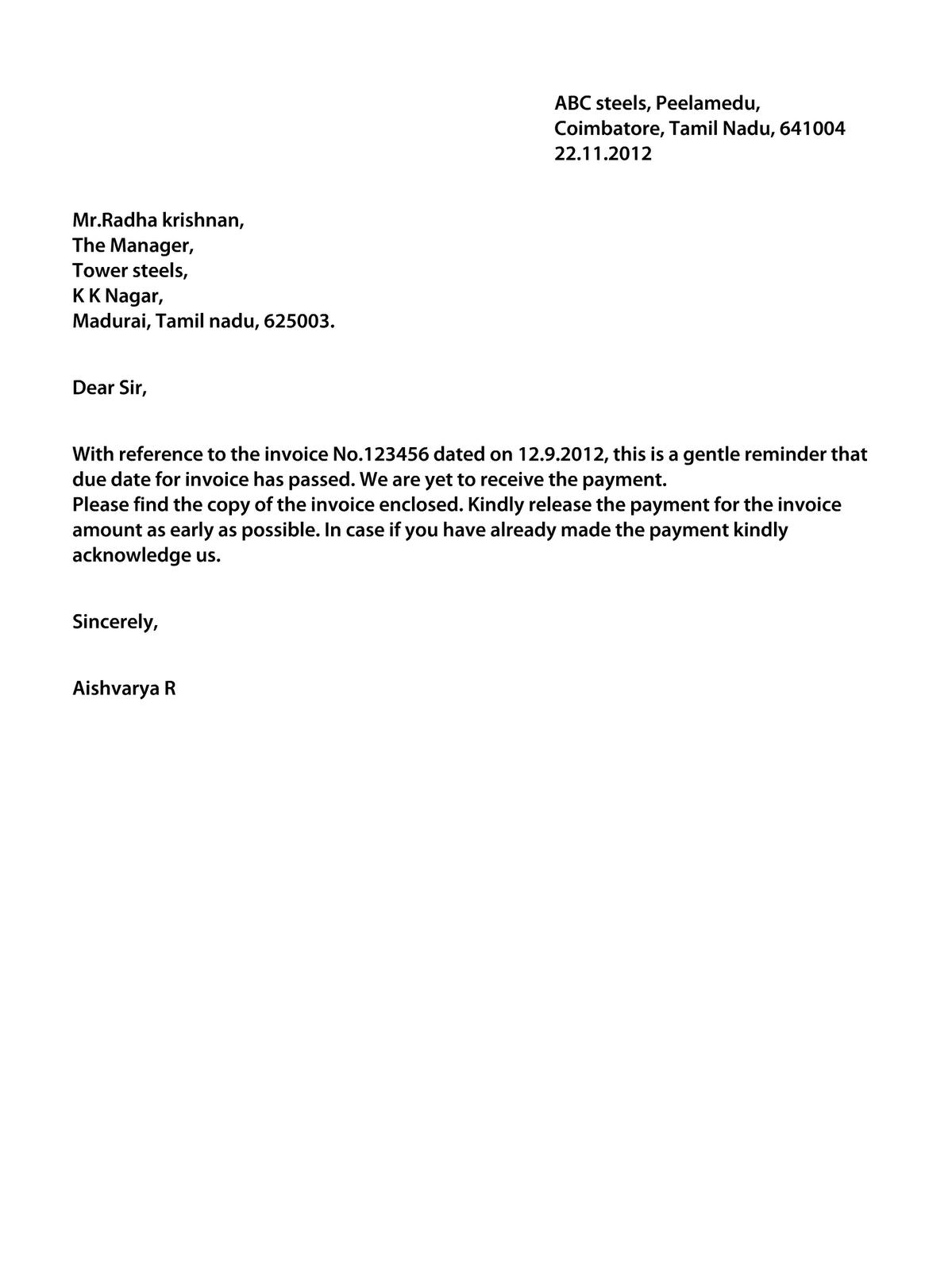Dollar Price Letter Regarding Outstanding Payment