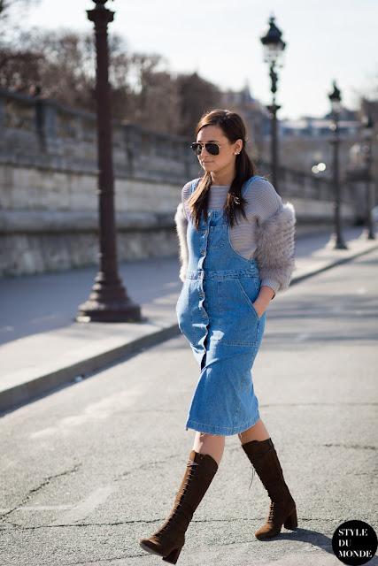 Street style peto vaquero falda