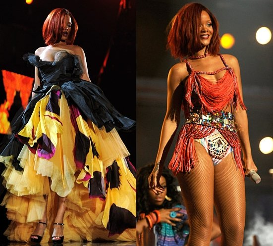 rihanna on stage grammys 2011