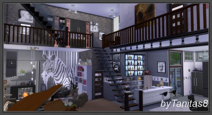my sims 4 blog zebra loft by tanitas8. Black Bedroom Furniture Sets. Home Design Ideas