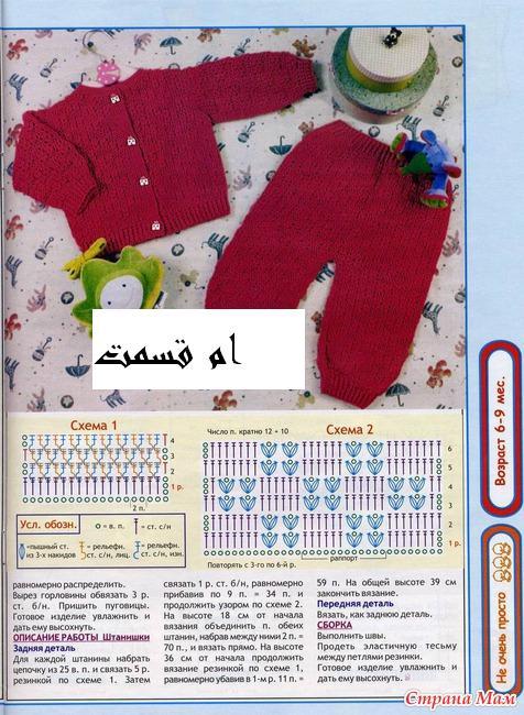Узоры спицами для вязание детских штанишек