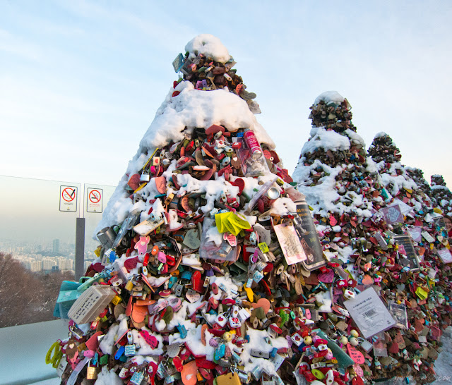 Trees of love locks on top of Mt. Namsan