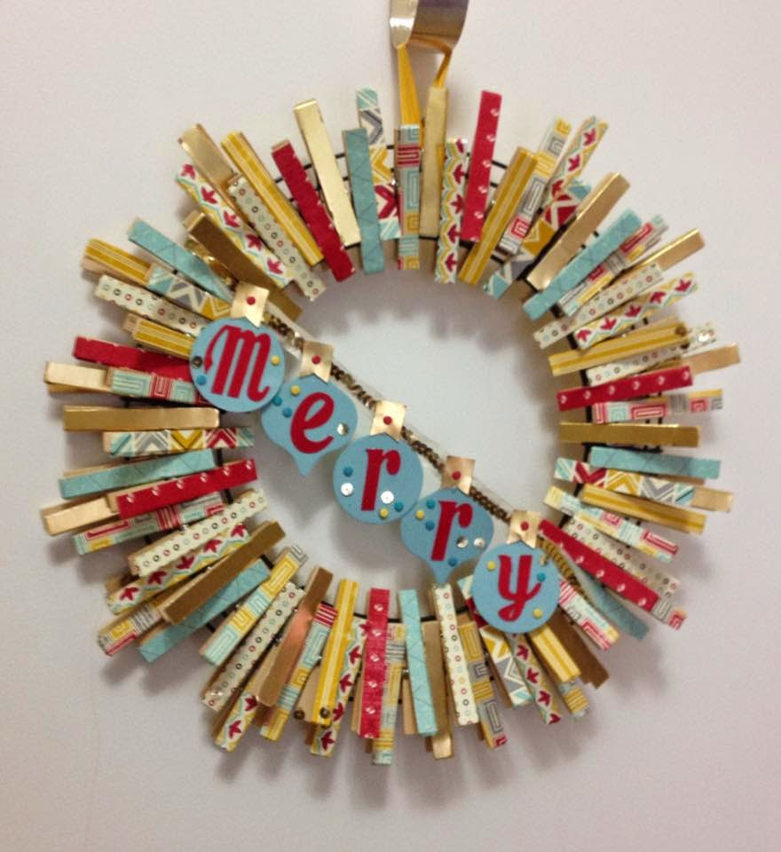 MidnightCrafting.com Merry Clothespin Wreath - Flash Back DSP, Gold Foil Specialty Paper