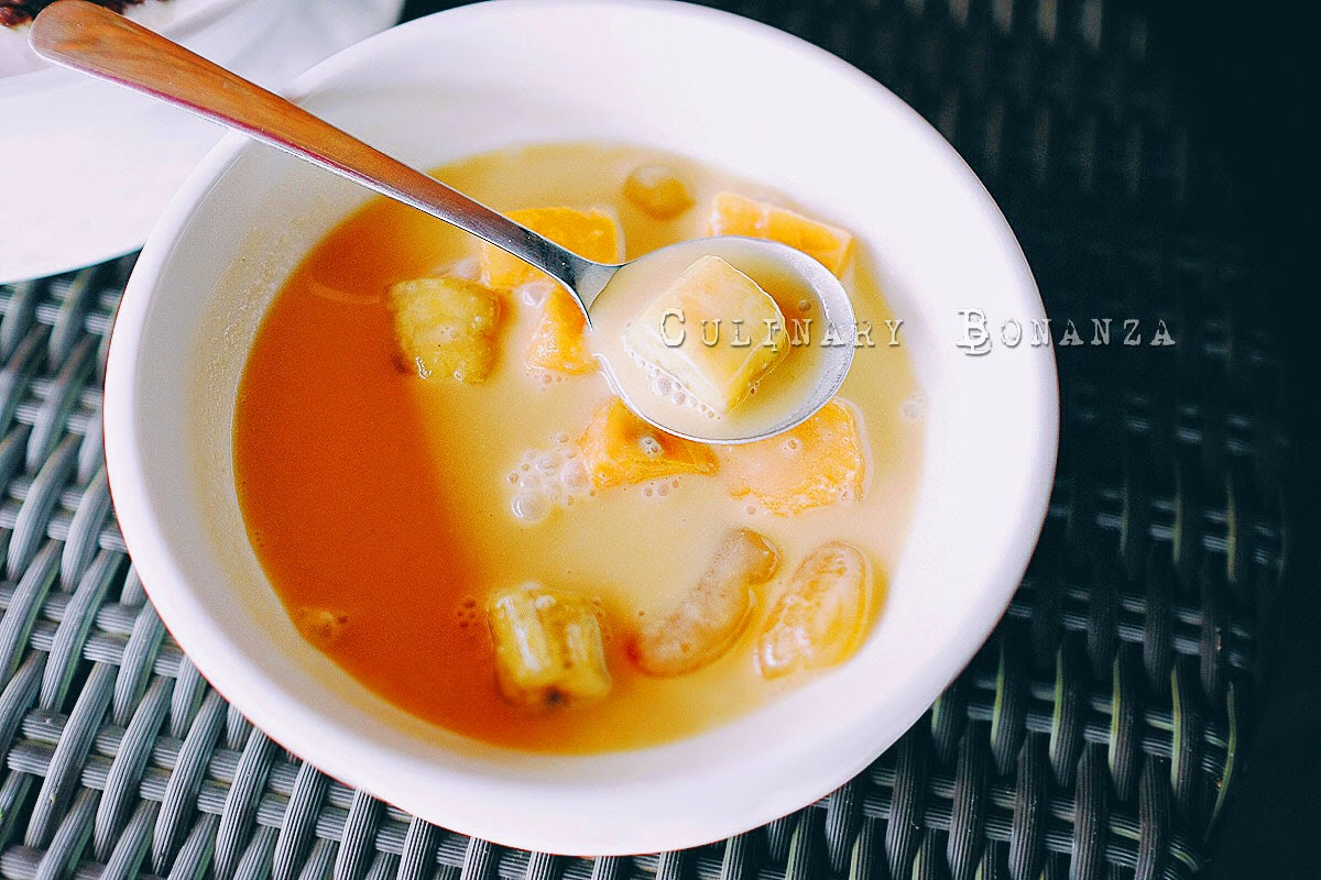 Kolak - Indonesian dessert, which is basically warm coconut milk soup with chunks of banana, sweet yam and palm fruits