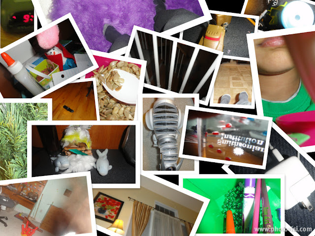 collage robot, dinosaur, stuffed animals, elmer's glue, socks, christmas tree