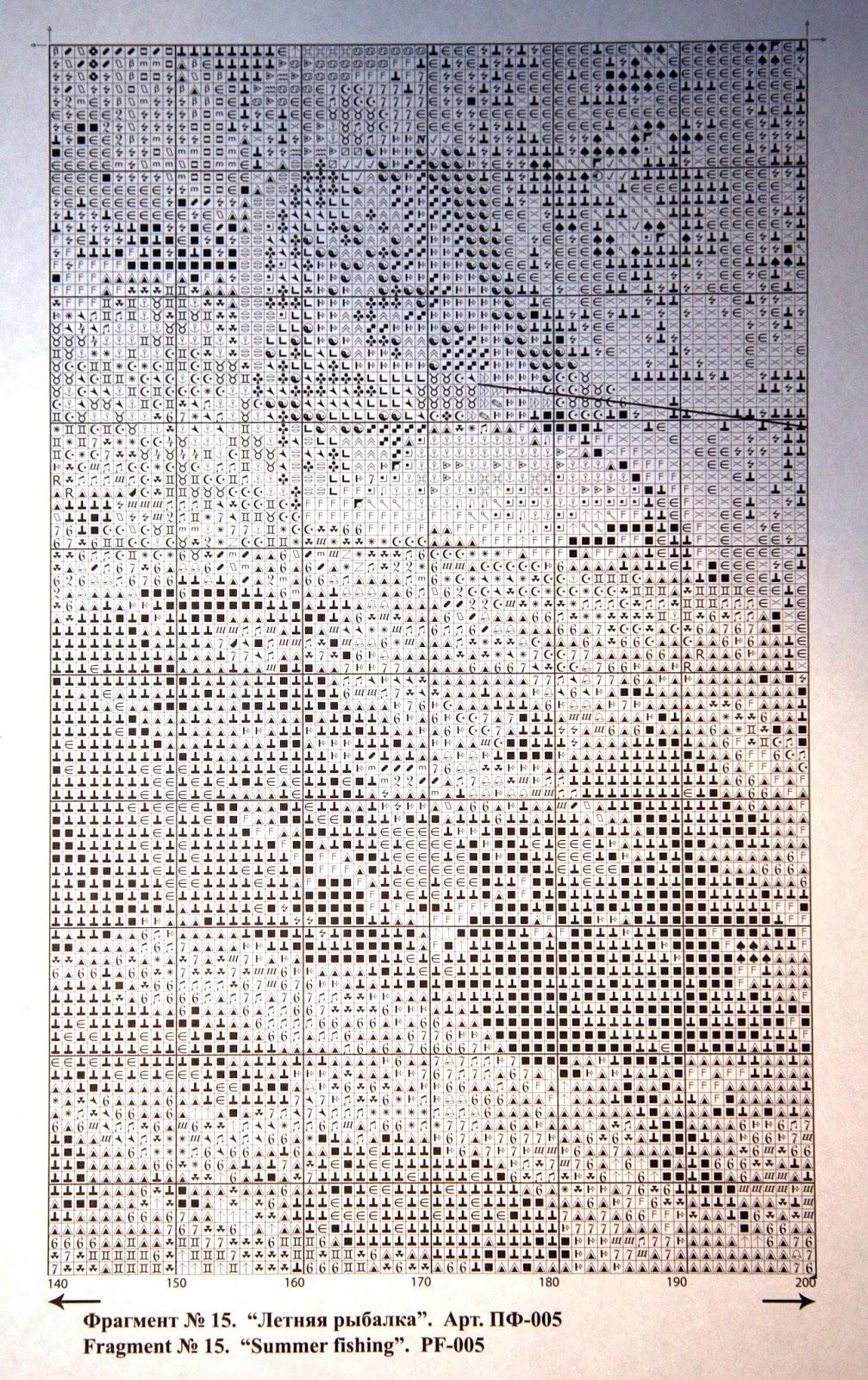 Схема вышивки летняя рыбалка 54