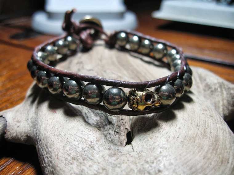 Unisex Pyrite wrap bracelet with skull