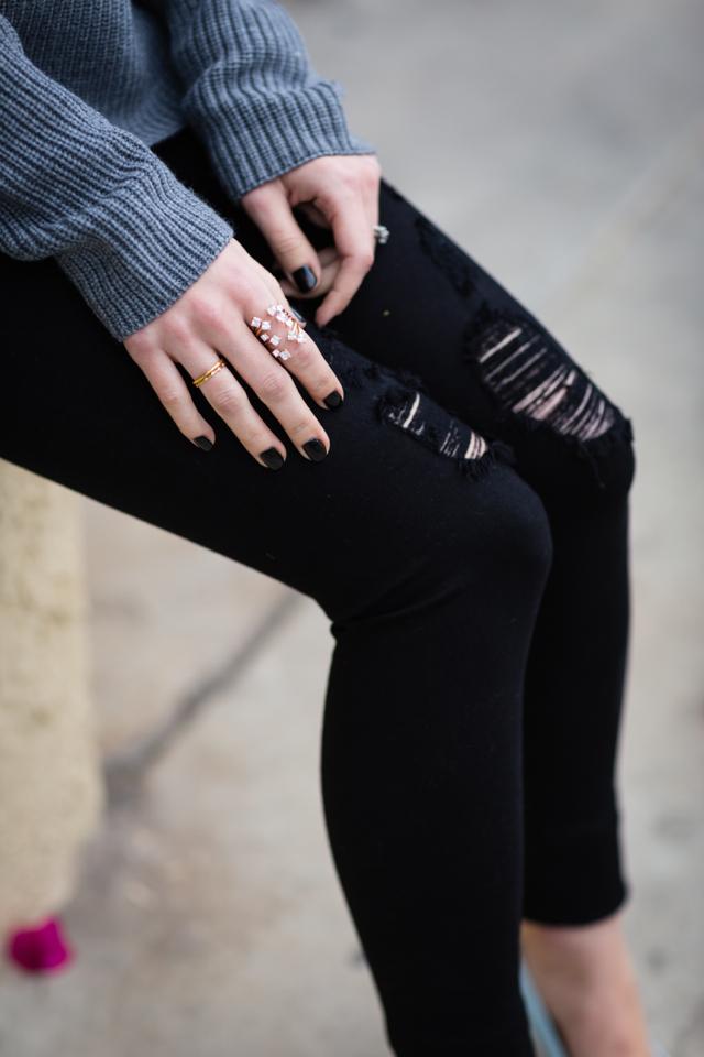 black distressed jeans and black essie licorice nail polish M Loves M @marmar