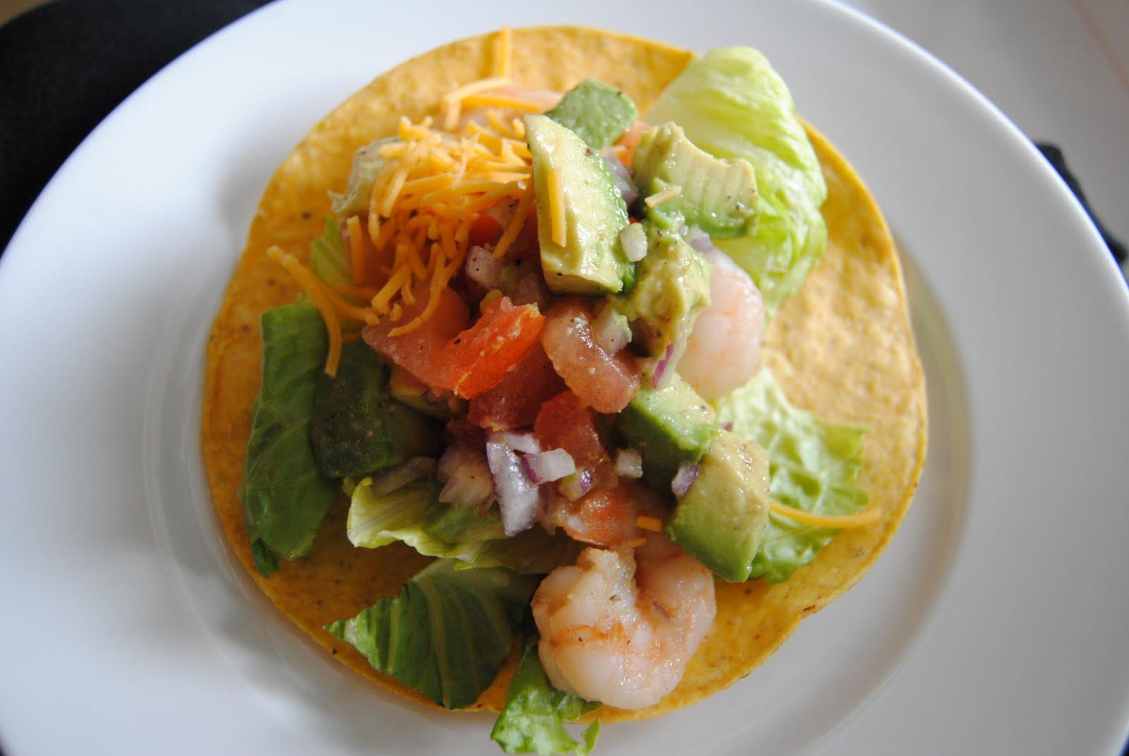 Inspirations by D: Shrimp Tostada with Avocado Salsa