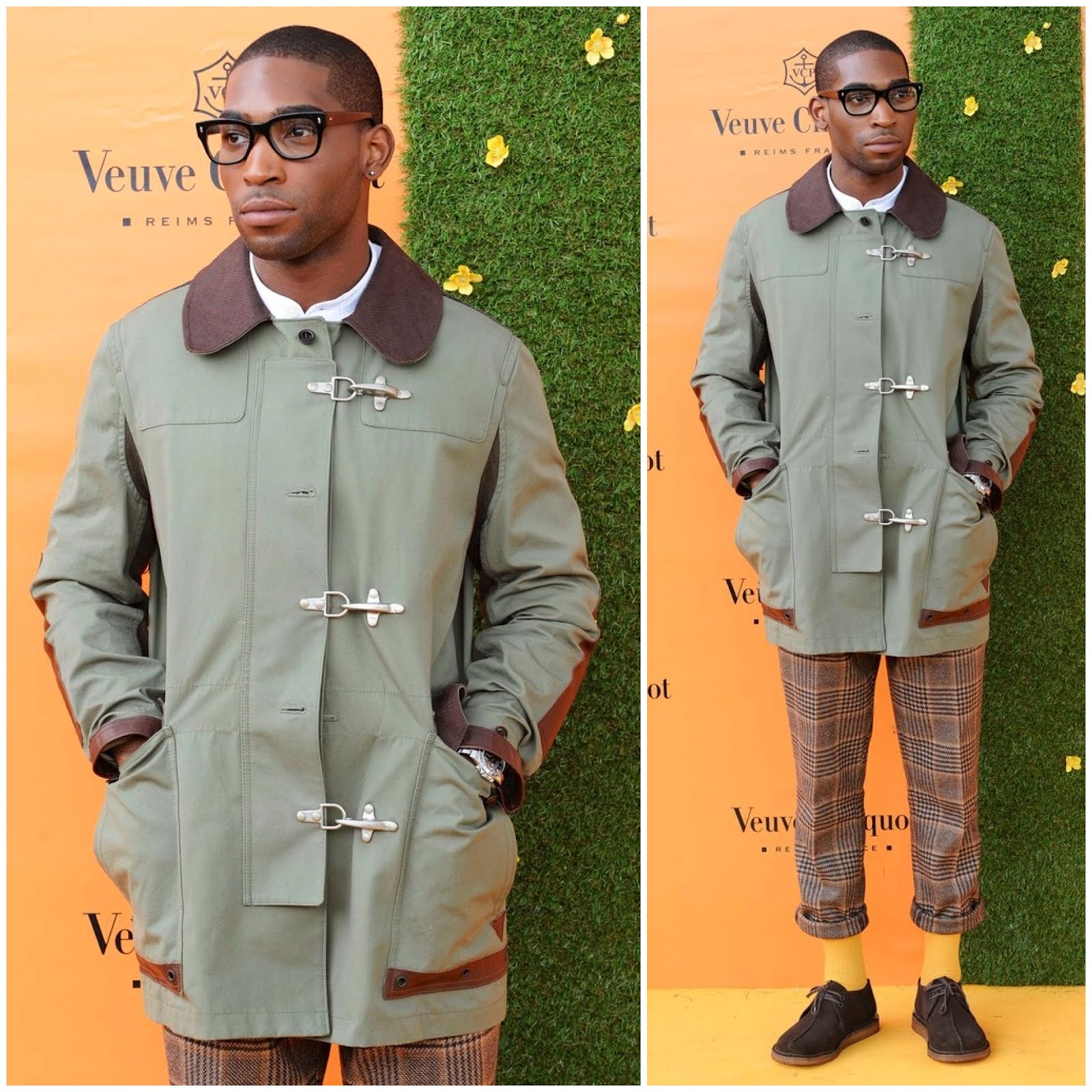 00O00 London Menswear Blog Celebrity Style Tinie Tempah attends the Veuve Clicquot Gold Cup Final at Cowdray Park Polo Club on July 15 2012 in Midhurst England in Junya Watanabe available from Farfetch