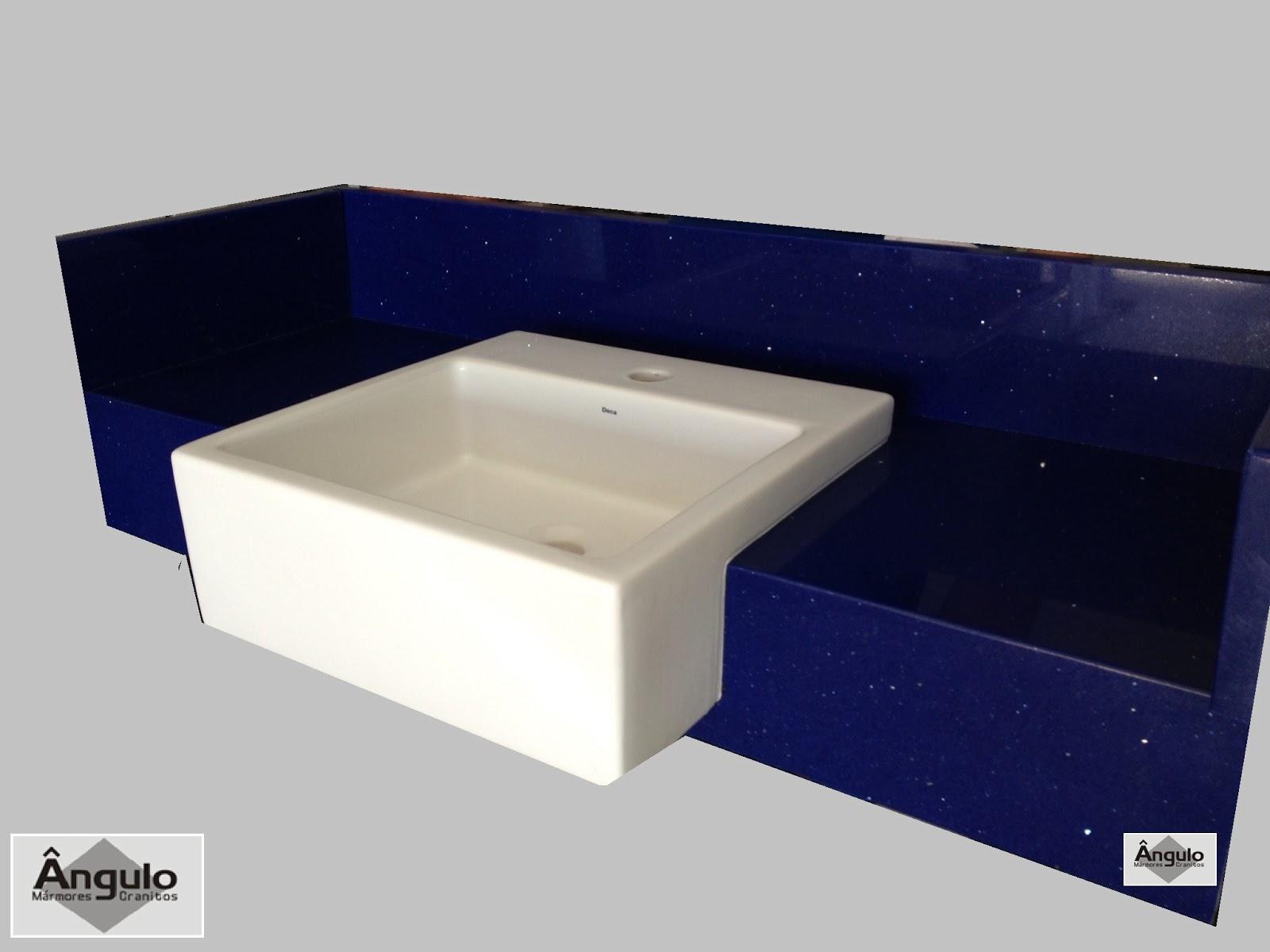 Bancada de banheiro em Silestone Azul Stellar. #0D0E31 1600x1200 Bancada Banheiro Silestone
