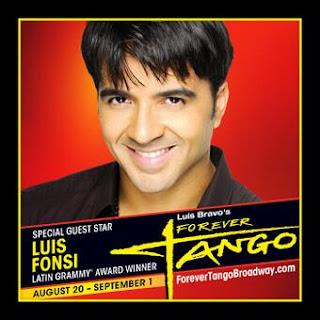 Luis Fonsi dejó por unos días los  preparativos de su nuevo disco para debutar en el espectáculo de  Broadway Forever Tango