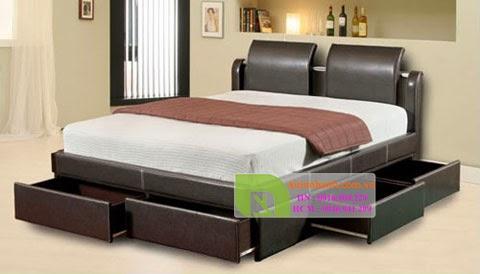 giường có ngăn kéo gỗ tự nhiên