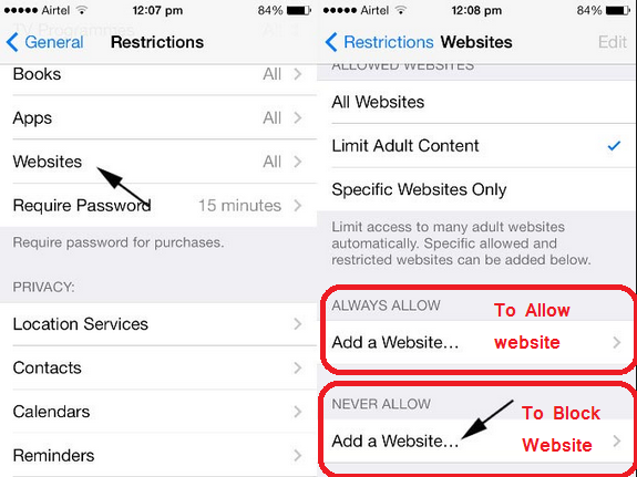 Allow Block Website on IOS or Smartphones