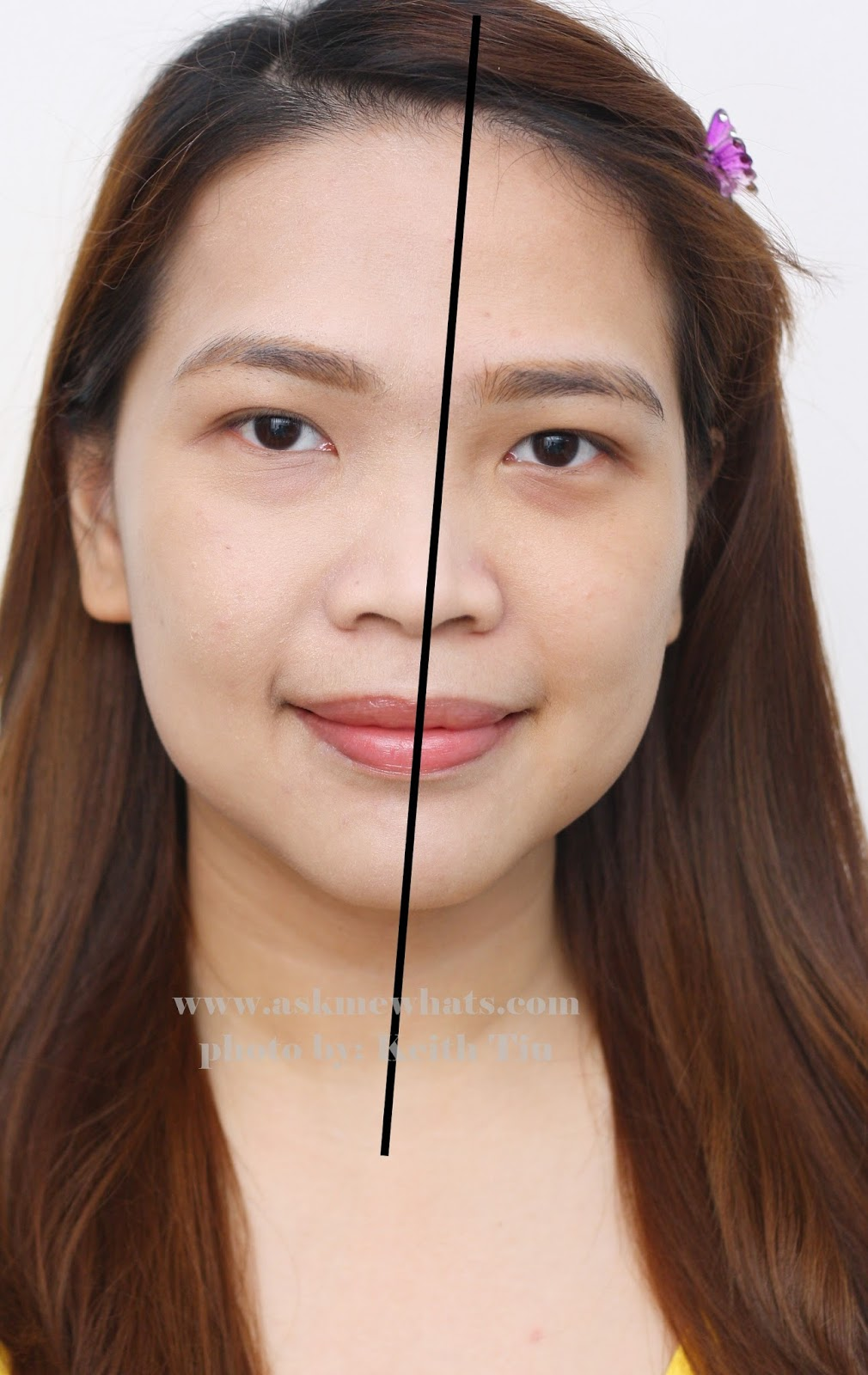half face test using Etude House Beauty Shot Face Blur