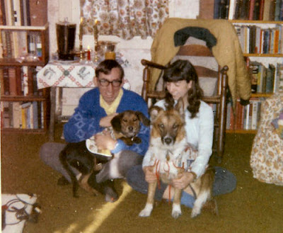 young couple with two dogs