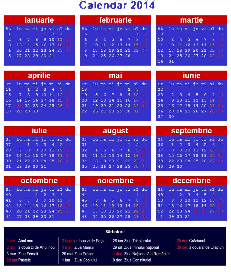 Calendar Românesc 2014