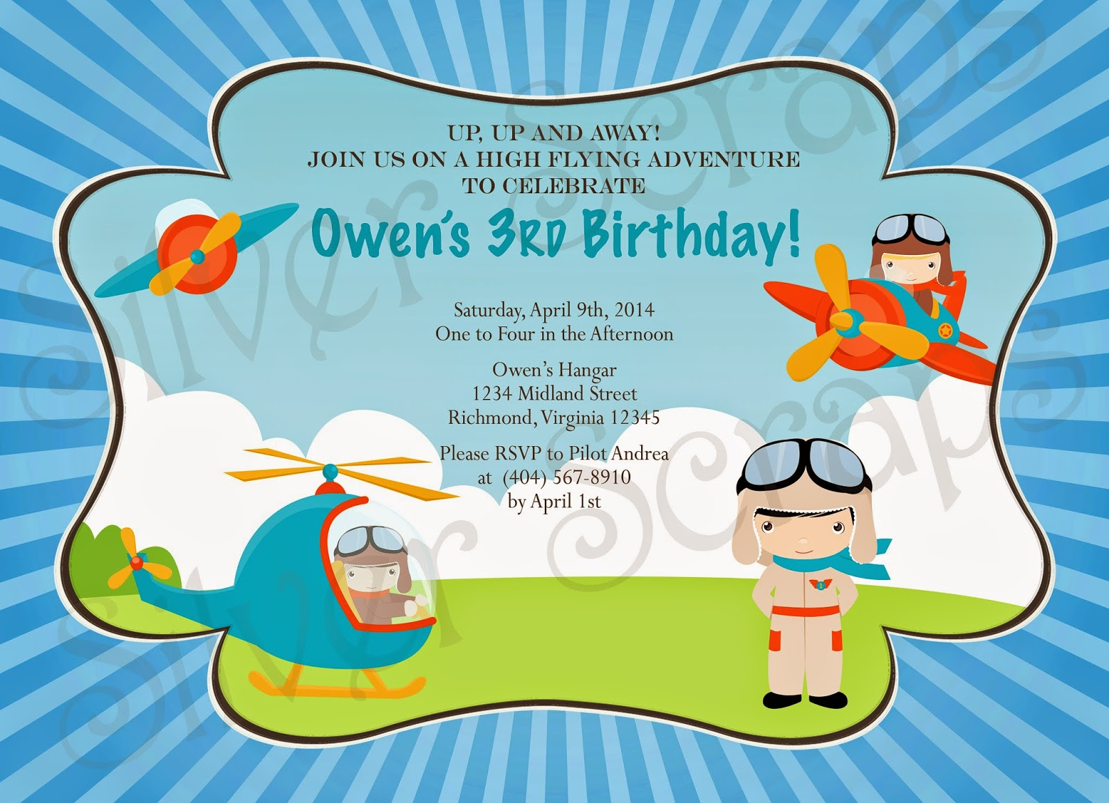 Up, Up, and Away - Custom Digital Airplane Birthday Invitation -Boy Plane Fly Flying Helicopter Pilot Red Blue Yellow - 5 Printable Designs aviator blue chevron red yellow orange helicopter goggles blue polka dots