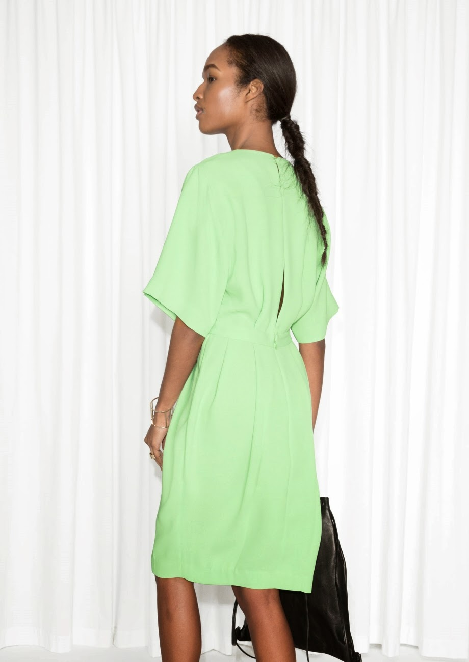 stories green back dress